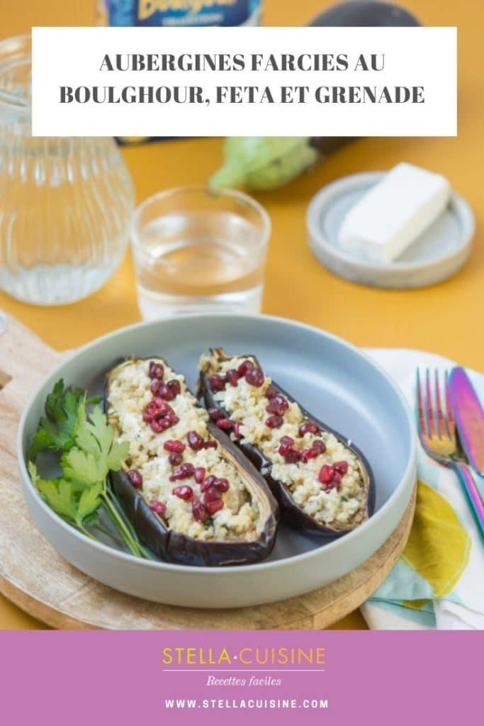 Recette d'Aubergines farcies au boulghour, feta et grenade. Recette facile avec du boulgour, aux saveurs méditerranéennes !