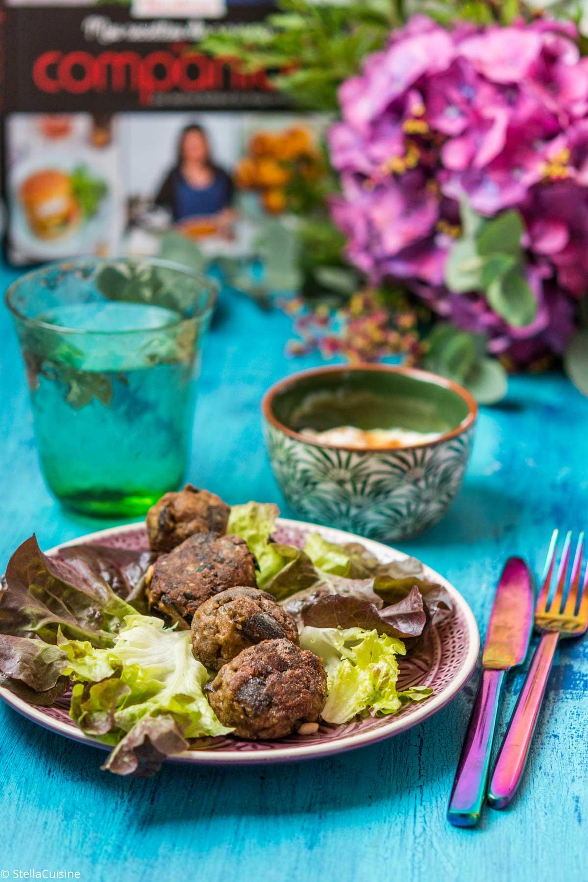 """Recette de Boulettes aux aubergines (avec ou sans Cuisine Companion. Livre """"Mes recettes de saison au Companion"""" de Mimicuisine"""