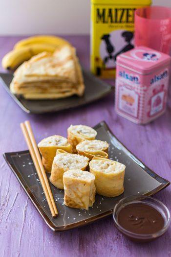Recette de Makis de crêpes, riz au lait, banane et chocolat {Concours avec Alsa et Maïzena}