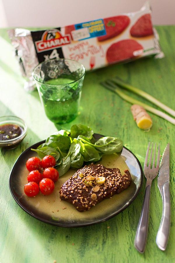 Steak Charal mariné à la sauce soja et sésame