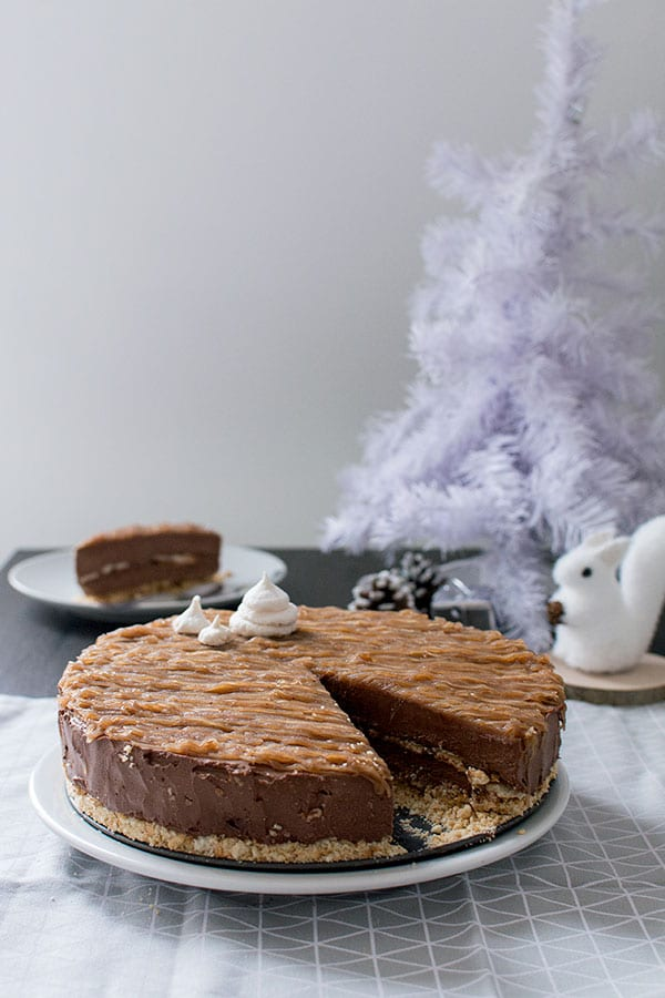 Cheesecake de Noël : chocolat, meringue, crème de marrons