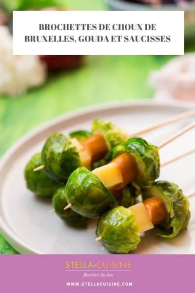 Recette de Brochettes de choux de Bruxelles, gouda et saucisses