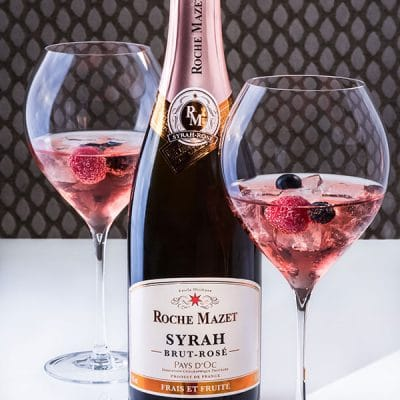 Cocktail Fruit'tea (Roche Mazet Syrah rosé brut et thé)