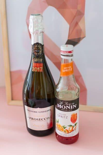 Recette de Cocktail Spritz, au Prosecco Signore Guiseppe et sirop Monin