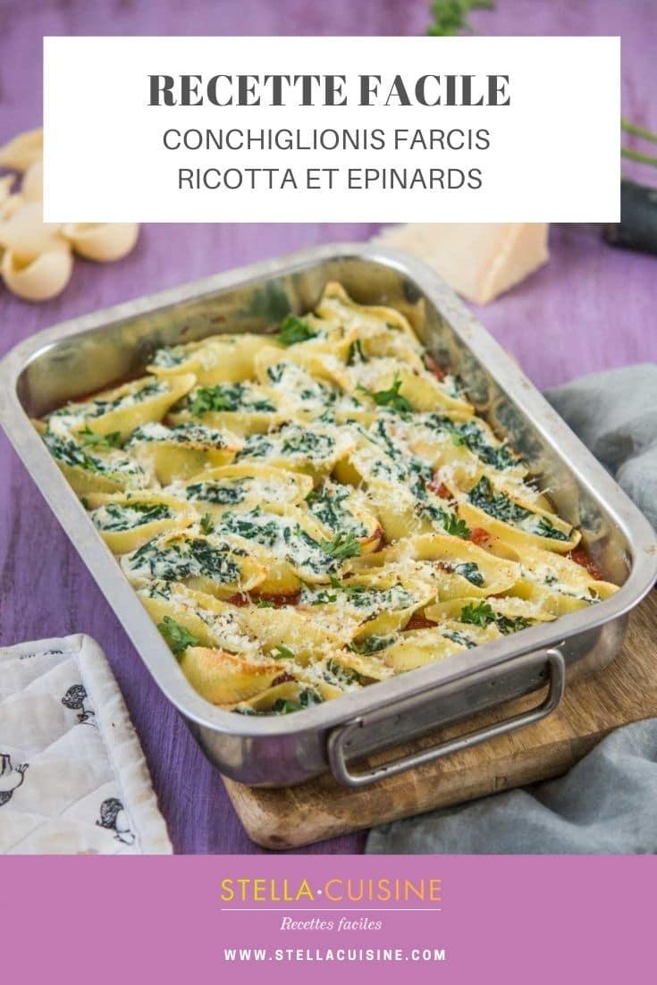 Recette de Conchiglioni farcis ricotta épinards. Cannellonis ou conghiglioni farcis, recette végétarienne, recette avec des épinards.