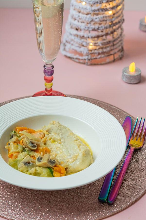 Recette de Filets de colin au champagne, tagliatelles de légumes (recette Cookeo)