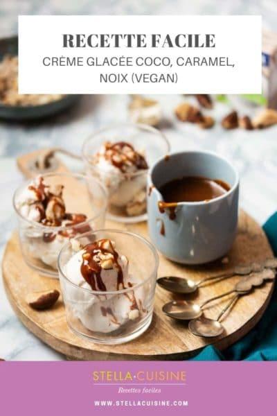 Recette de Crème glacée coco, caramel, noix (vegan)