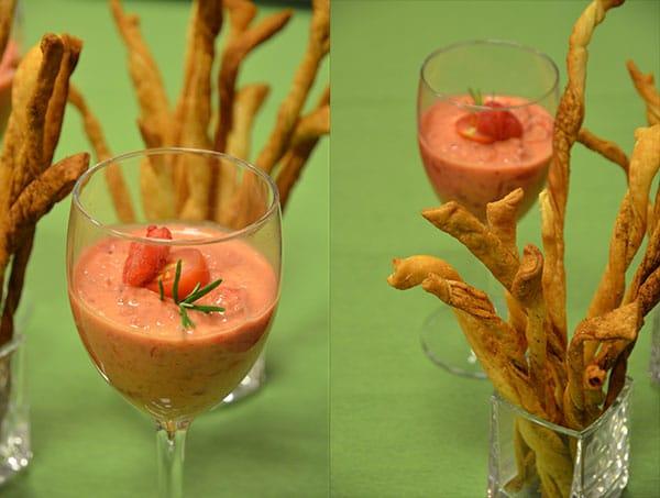 Recette de dip de tomates et framboises, flûtes feuilletées