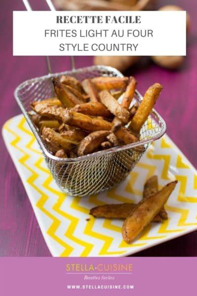 """Recette de Frites """"country"""" au four, frites light au four. Une recette simple de frites légères au four !"""
