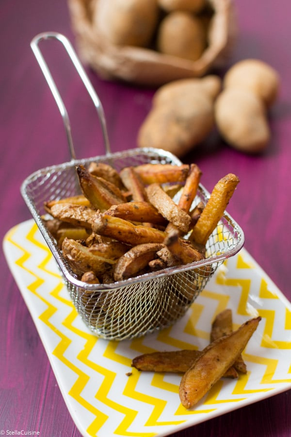 "Recette de Frites ""country"" au four, frites light au four"