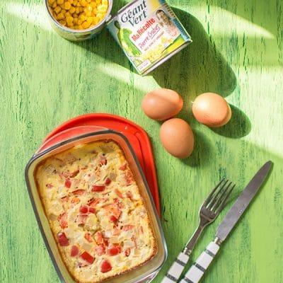Recette de Flan de légumes (maïs Géant Vert et poivrons), recette facile et rapide pour un plat complet et équilibré, sain et végétarien !