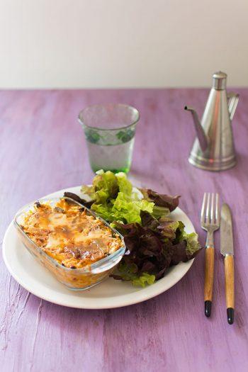 Recette de Gratin de pâtes aux légumes ratatouille, recette facile et rapide pour familles nombreuses, ou en grande quantité.