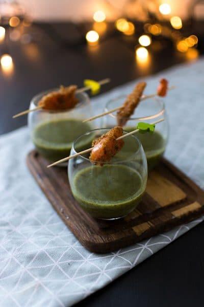 Recette de Velouté de cresson et fenouil, truite fumée au pain d'épices