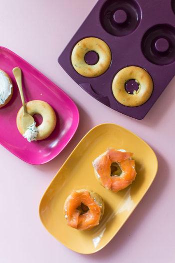 Hoops, cakes salés au fromage frais et saumon fumé