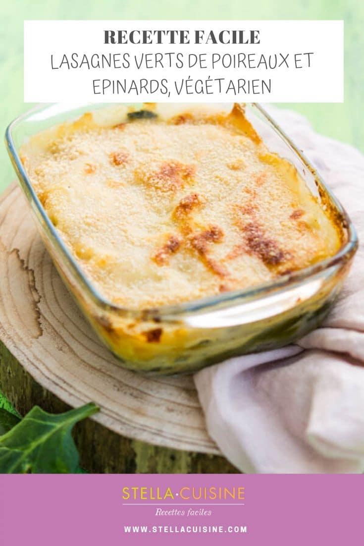 Recette de Lasagnes végétariennes, épinards et verts de poireaux, recette pour recycler les verts de poireaux, c'est délicieux !