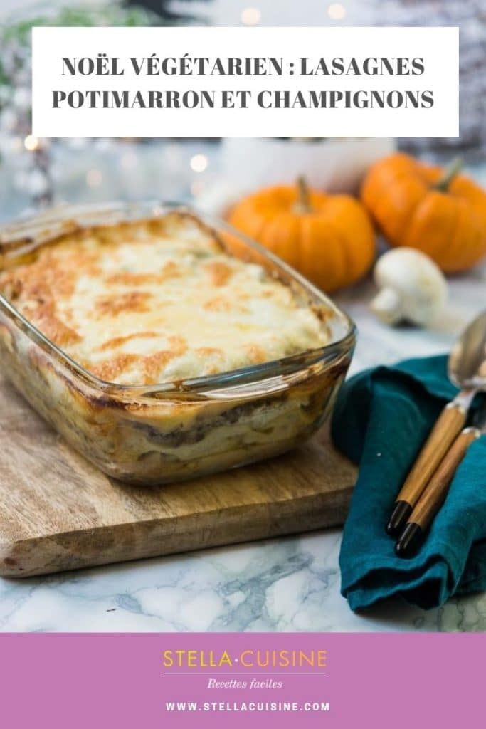 Recette de Noël végétarien : lasagnes potimarron et champignons