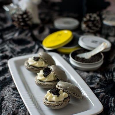 Macarons chocolat blanc et Caviar de Neuvic