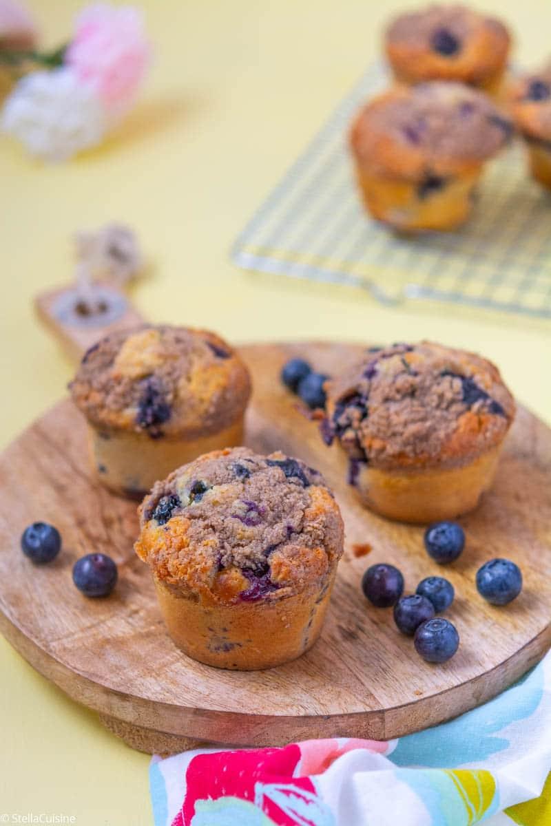 Recette de Muffins myrtilles et crumble (comme chez Starbucks)