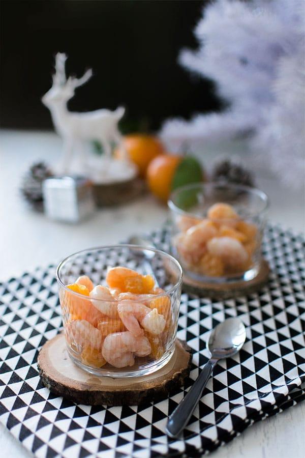 Recette de Noël : Crevettes aux clémentines et à la moutarde