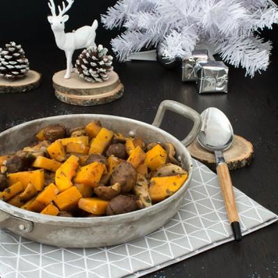 Recette de Noël : poêlée de marrons, champignons, courge butternut