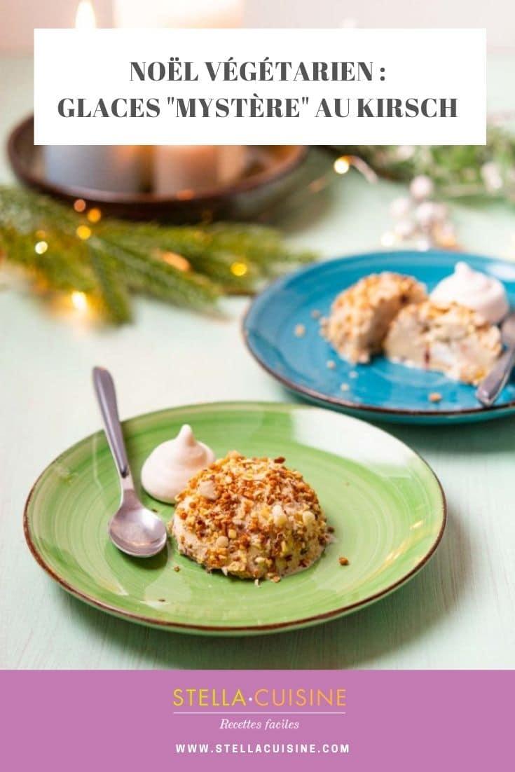 """Recette de Noël végétarien : Glaces """"Mystère"""" au Kirsch. Recette facile de crème glacée vanille maison, avec du kirsch, des meringues et faire du pralin maison !"""