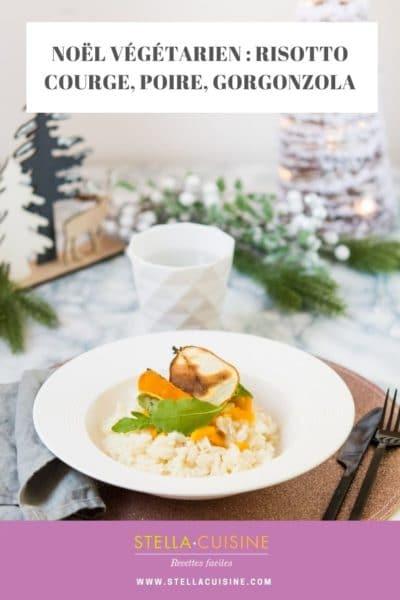 Recette de Noël végétarien : risotto de butternut, poire et gorgonzola