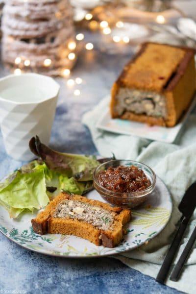 Recette de Noël végétarien : Terrine de champignons, pain d'épices et chutney de figues