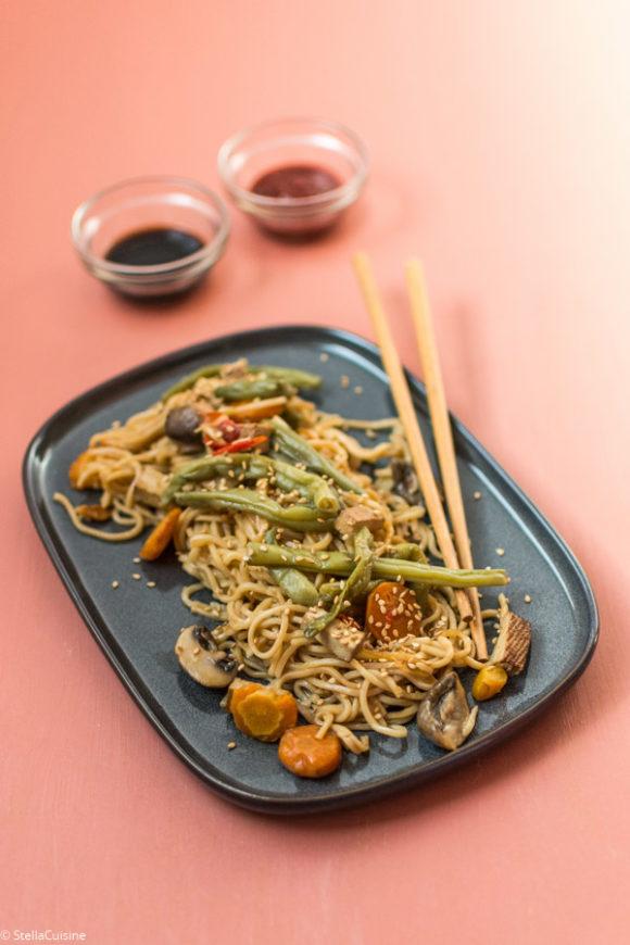 Recette de Nouilles sautées aux légumes vegan (recette Cookeo)