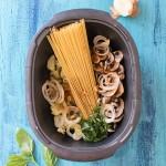 Recette de Recette de One pot pasta au micro-ondes : courgettes, champignons, mozzarella