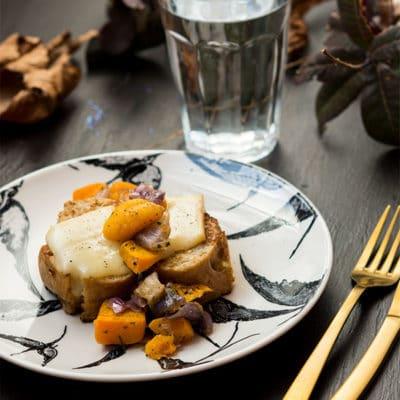 Recette de Pain perdu salé à la courge et fromage à raclette, recette facile de pain perdu sale, recette foodle, recette automne.