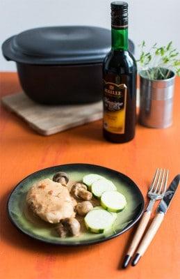 Recette de Poulet au vinaigre et champignons
