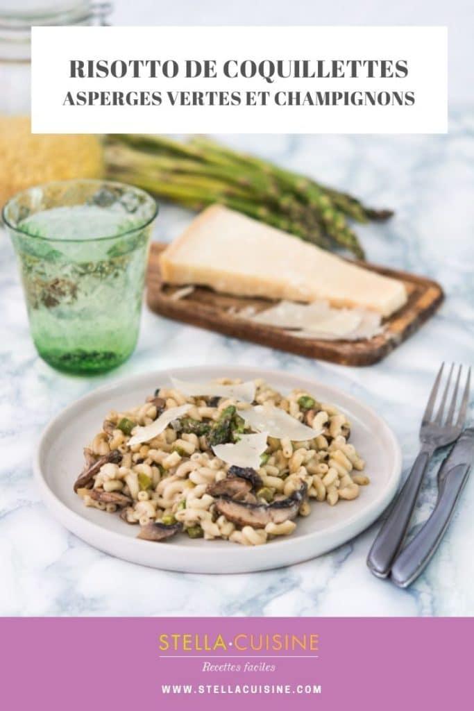 Recette de Risotto de coquillettes aux asperges vertes, champignons et parmesan