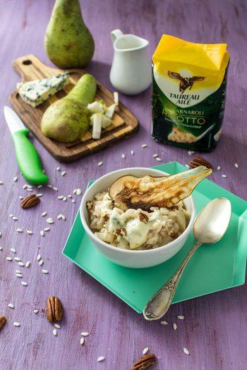 Recette de Risotto Taureau Ailé à la poire et au fromage bleu, avec du riz carnaroli, un risotto sucré salé d'automne très réconfortant !