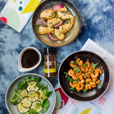 3 recettes autour du saté : poulet, crevettes et courgettes