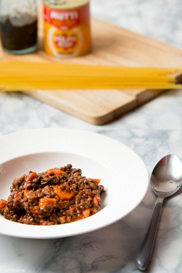 Recette de Sauce bolognaise végétarienne aux lentilles (vegan)