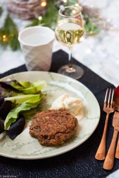 Recette de Noël végétarien : steak veggie et glace moutarde