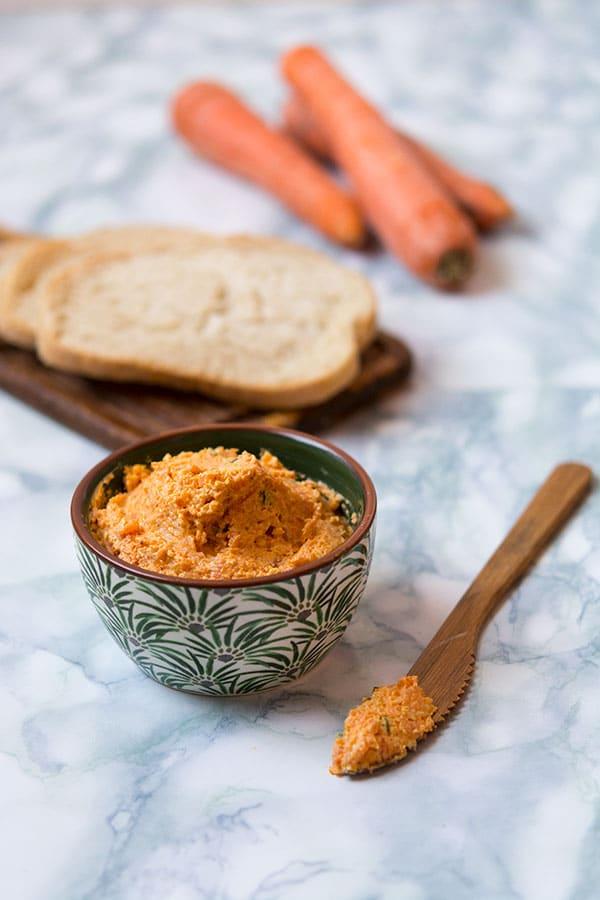 Recette de Tartinade de carottes au chèvre frais