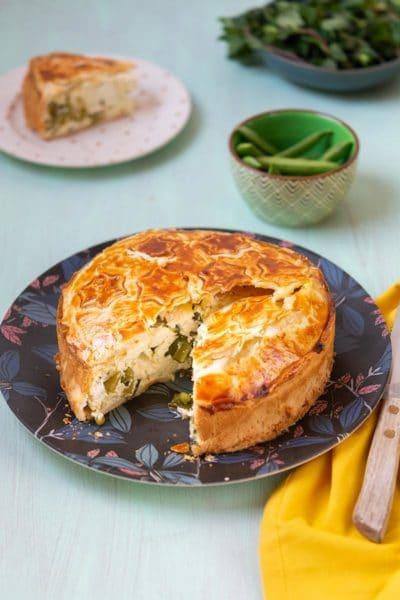 Recette facile de Pâques, recette végétarienne pour paques : Tourte de Pâques aux pois sucrés, feta et menthe ! Idéal avec une salade, en entrée ou en plat principal, avec les pois sucrés C'ZON !
