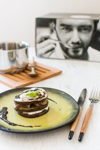 Recette de Millefeuille d'aubergines, agneau, ricotta, et balsamique à la menthe {Le défi de Cyril Lignac et ses ustensiles}