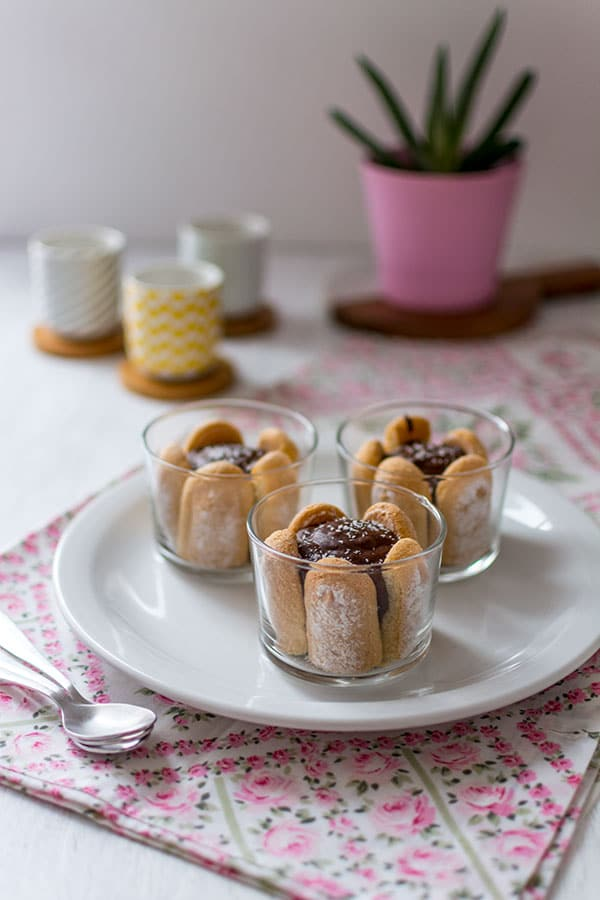 Verrines chocolat, cœur coco et biscuits cuillère {Concours avec Netto}