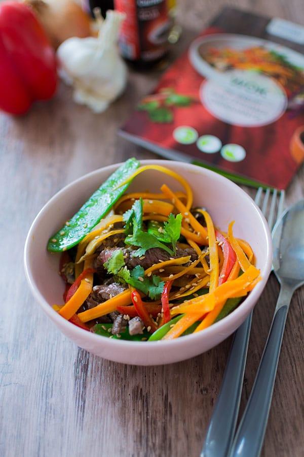 Wok de Bœuf aux légumes croquants {Panier Cuistot par Carrefour Ooshop}