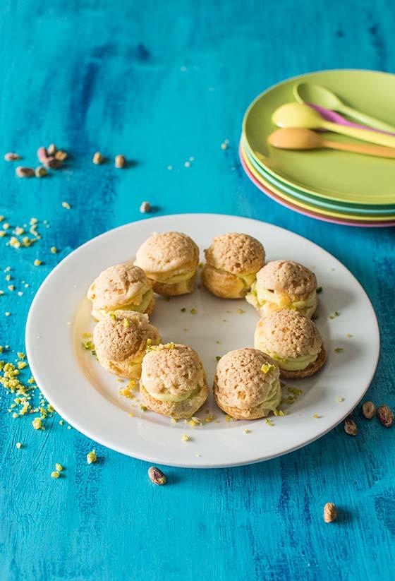 Recette de choux à la pistache et aux framboises