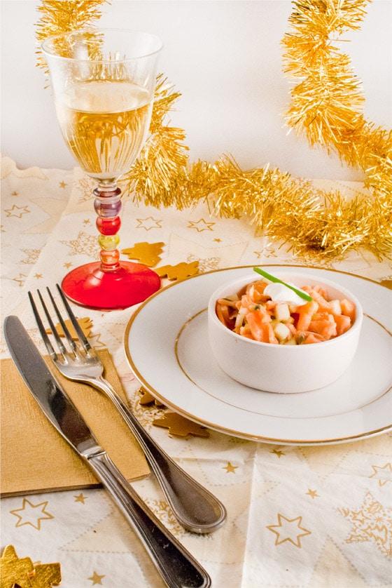 Recette pour un no l l ger light fra cheur de saumon aux pommes granny stella cuisine - Repas de fete leger ...