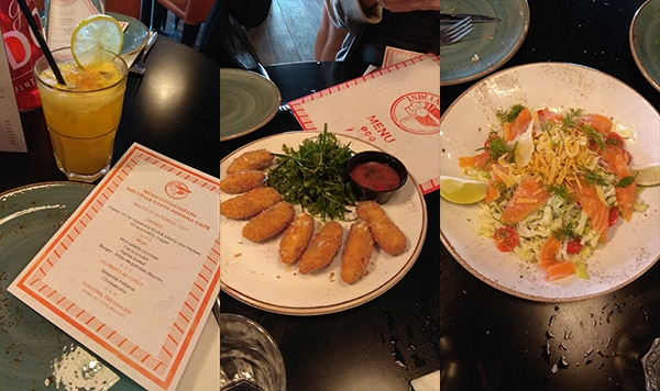 De gauche à droite : Tiki Ginger, Mozzarella Sticks, Salade au Saumon