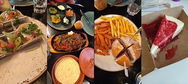 De gauche à droite : Tacos poulet, Fajitas boeuf, Burger et frites normales et patate douce, Cheesecake de chez Rachel