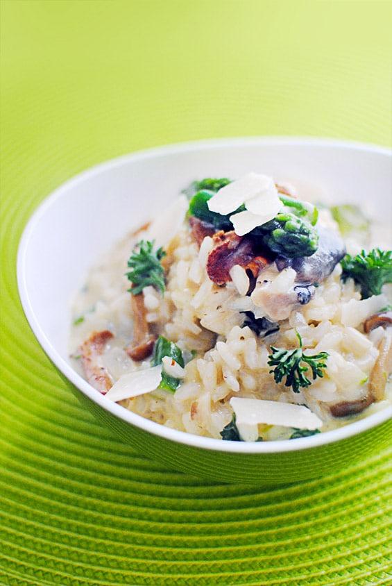 Risotto aux champignons forestiers et asperges vertes miss no l les recettes - Risotto noel ...