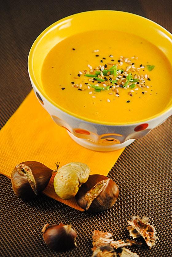 recette de velout de courge butternut et marrons chauds stella cuisine recettes faciles. Black Bedroom Furniture Sets. Home Design Ideas