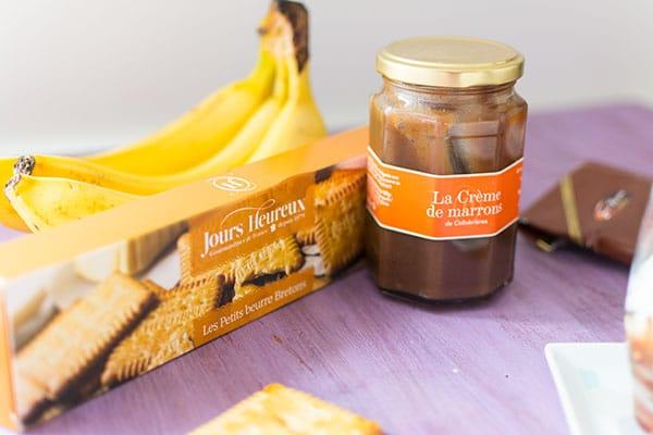 Verrines crème de marron, banane et chantilly straciatella